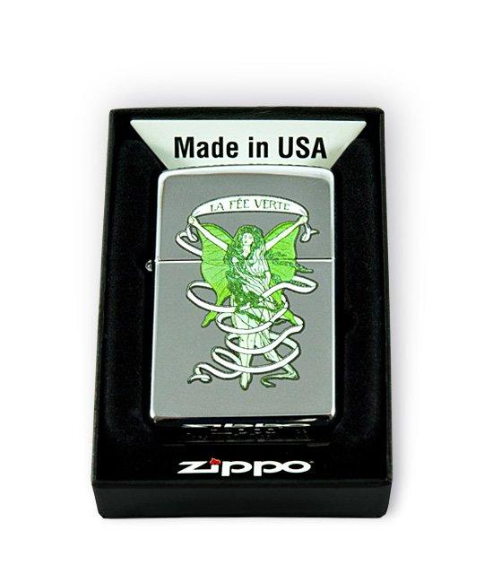 Originální zapalovače Zippo s motivem Absinth - zelená víla