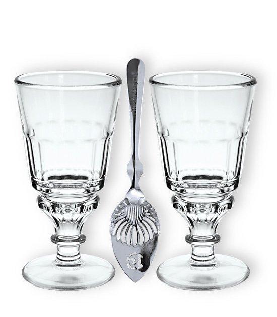 Sada dvou absintových skleniček Pontarlier a lžiček na absint
